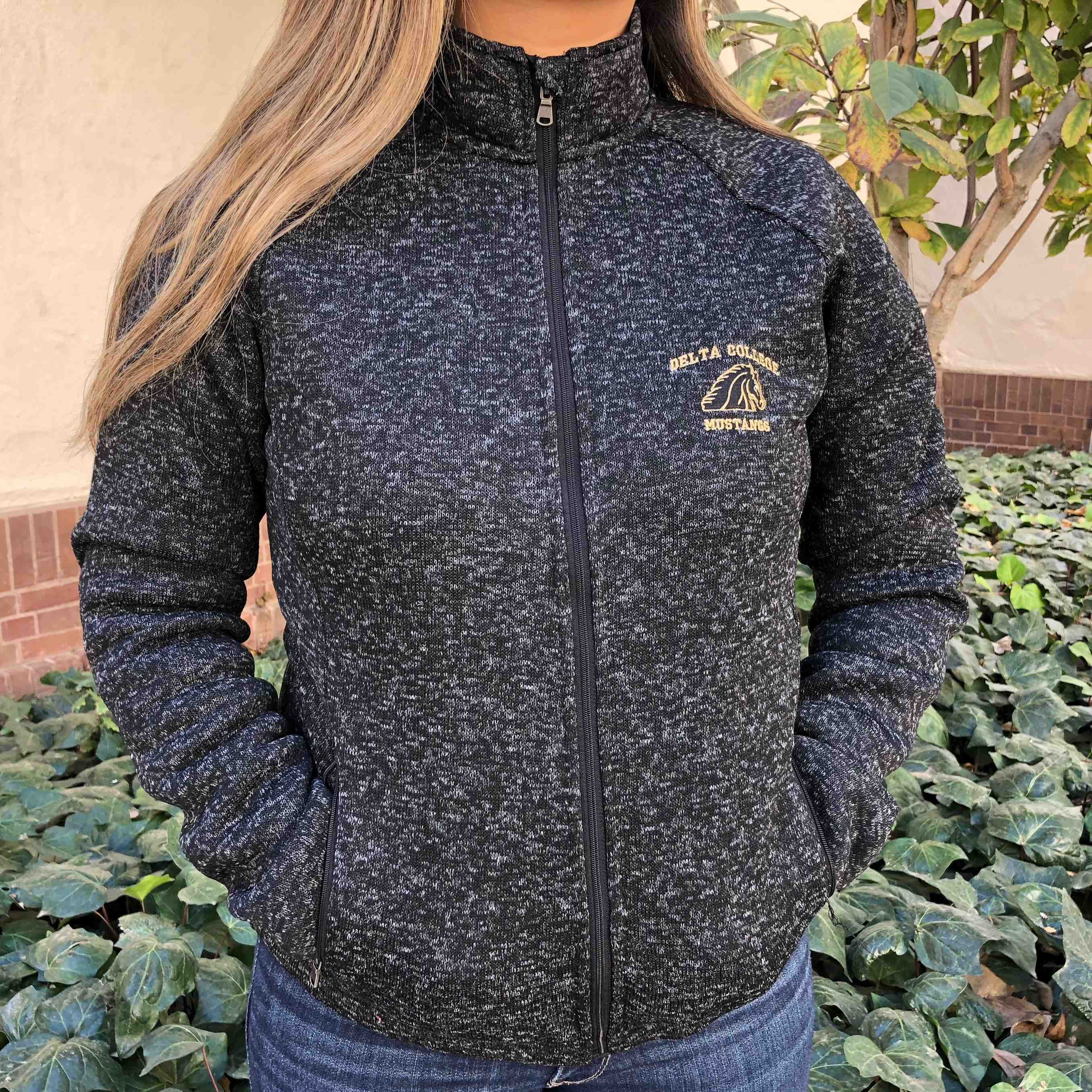 Image For BLACK/GRAY WOMENS FULL ZIP FLEECE