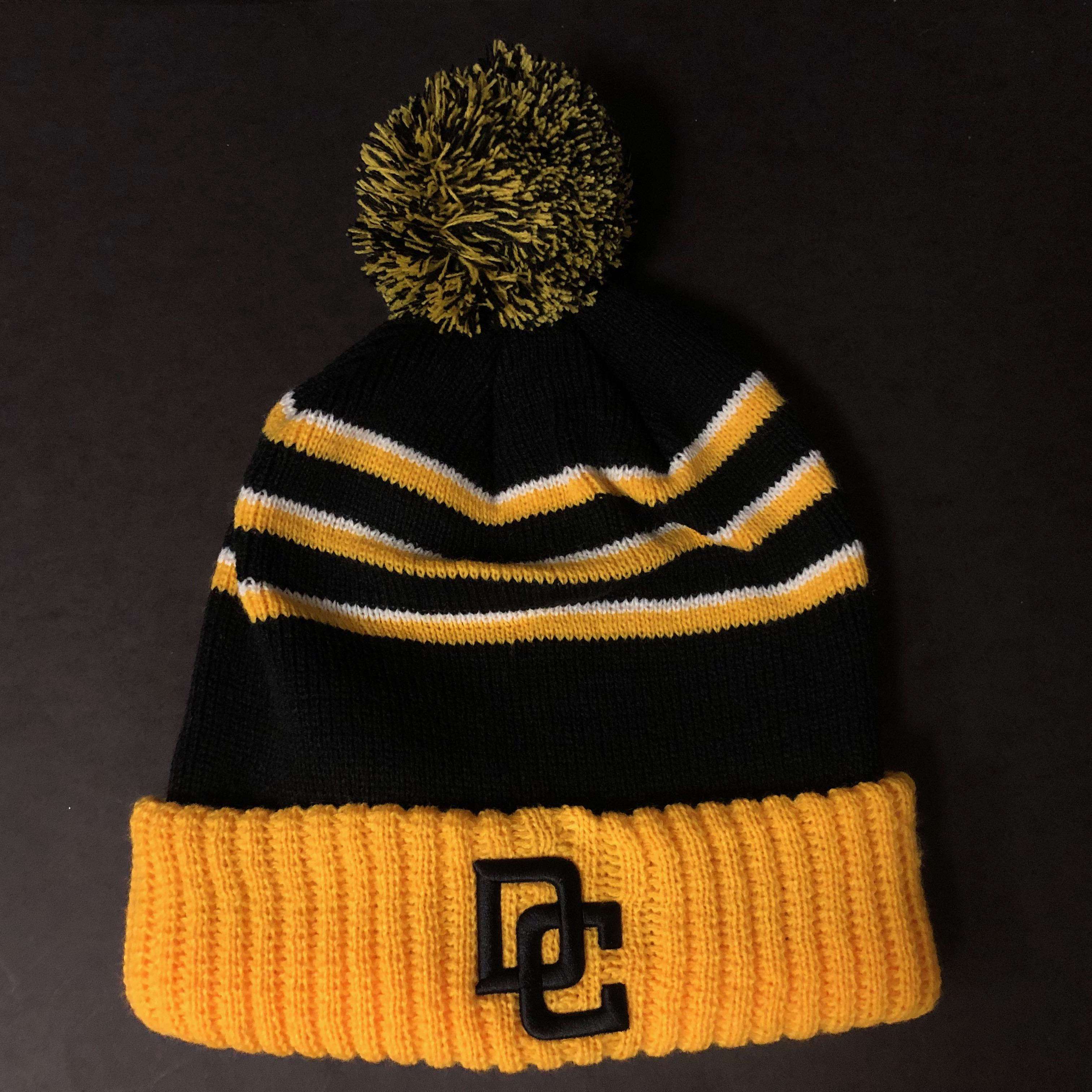 Image For BLACK/GOLD/WHITE BEANIE